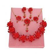 Handmade Red Wedding Bridal Jewelry Hair Style Accessories Earrings Sets, #01 – GJ-BEA11057971-HERMINE02493