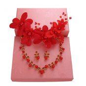 Handmade Red Wedding Bridal Jewelry Hair Style Accessories Earrings Sets, #07 – GJ-BEA11057971-HERMINE02499