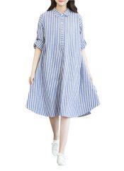 Stylish/Large Size/Quality Fabrics Maternity Dress(Blue Stripes) – PS-BEA11062371-JOE00347