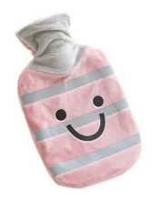 Small Plush Creative Rubber Hot Water Bottle, Pink Gray And Smiley Face – GM-HEA3763901-ADAM00983