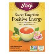 Yogi Positive Energy Herbal Tea Sweet Tangerine – 16 Tea Bags – Case of 6 – 1118876