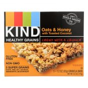 Kind Bar – Granola – Healthy Grains – Oats and Honey with Toasted Coconut – 1.2 oz – 5 Count – Case of 8 – 1283225