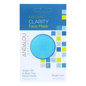 andalou Naturals Instant Clarity Face Mask – Argan Oil & Blue Clay – Case of 6 – 0.28 oz – 1800598