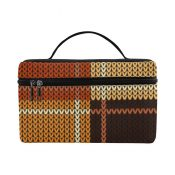 Brown Checker Style Cosmetic Bag – D5287354