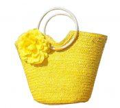 Straw Bag Beach Handbag Summer Bag Holiday Style Flowers [Yellow] – BC-BEA387321011-IRENE00364