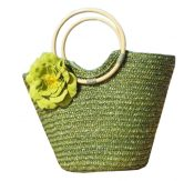 Straw Bag Beach Handbag Summer Bag Holiday Style Flowers [Green] – BC-BEA387321011-IRENE00365