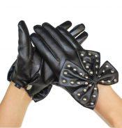 Best Selling Women's Winter Warm Black Leather Gloves-12 – GJ-BEA11059301-NANCY00225