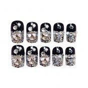 Stylish Wedding Bridal Nail Jewelry French Nails Rhinestone Nail Art False Nails, #06 – GJ-BEA13106071-HERMINE01673