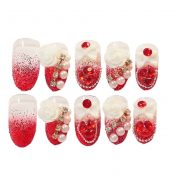 Stylish Wedding Bridal Nail Jewelry French Nails Rhinestone Nail Art False Nails, #09 – GJ-BEA13106071-HERMINE01676