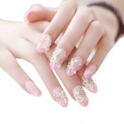 Stylish Wedding Bridal Nail Jewelry French Nails Rhinestone Nail Art False Nails, #20 – GJ-BEA13106071-HERMINE01687