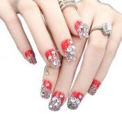 Charming Wedding Bridal French Nails Fake Nail Rhinestones Nail Art Design, #09 – GJ-BEA13106071-HERMINE01717