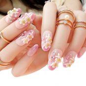 Charming Wedding Bridal French Nails Fake Nail Rhinestones Nail Art Design, #19 – GJ-BEA13106071-HERMINE01727