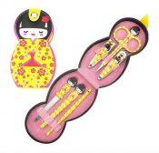 Set Of 6 Colored Nail Clippers Lovely Japanese Doll Pattern Manicure Set, Yellow – GM-BEA11063461-ZARA03340