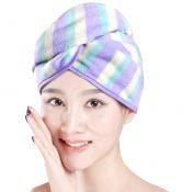 Super-Absorbent Dry Hair Cap Shower Cap Female Dry Hair Towel Purple Stripe – KE-BEA11056571-LILY00874