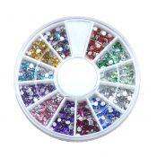 4 Boxes of 12 Mixed Colors Rhinestones DIY Nail Art Circular – KE-BEA11063481-FIONA00363