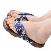 Elegant Japanese Floral Print Slip-On Flip Flop Geta Clogs Slippers Kimono Yukata Summer Gift,#G – KE-BEA11063681-GLORIA03879