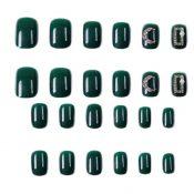 Dark Green Beads False Nail Tips Wedding Full Cover Fake Nails Long Nails Nail Art Decoration – PL-BEA11062281-DORIS00490-RP