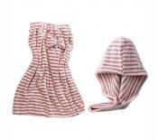 Hair Drying Turban and Bath Towel Wrap Skirt Microfiber Soft Towel Set, Pink Grey Stripes – PL-BEA3784491-KELLY01127-RP
