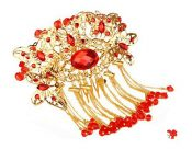 Amazing Traditional Chinese Wedding Gold Butterfly Tassels Hair Comb – PS-BEA11058011-HIROCO00788