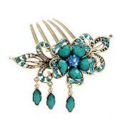 Classical Style Hair Comb Metal Pendant Rhinestones Hair Decoration, Blue – PS-BEA11058091-YAN00780