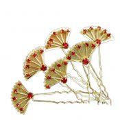 (Set of 6)Golden Beauty Fan Red Crystals Rhinestones Wedding Bridal Hair Pins – PS-BEA3784391-JESSICA00125