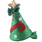 Set Of Two Creative Christmas Hat Side Clips Hair Pins Hair Accessories(Green) – PS-BEA3784391-MC00308