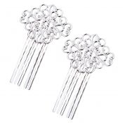3 Pcs Silver Tone Metal Side Comb Traditional Han Chinese Dress Hairpin Decorative Bridal Hair Accessories – PS-BEA3784401-DORIS00086-RP