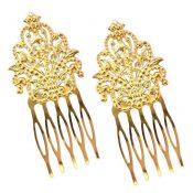 3 Pcs Gold Tone Metal Side Comb Dunhuang Hair Ornaments Hairpin Decorative Bridal Hair pieces – PS-BEA3784401-DORIS00159-RP