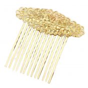 3 Pcs Gold Metal Side Comb Carved Flower Vines Hairpin Topknot Hair Clip DIY Bridal Hair Accessories – PS-BEA3784401-DORIS00492-RP