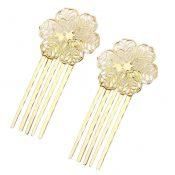 5 Pcs Golden Hair Comb Metal Hair Clip Flower 5 Teeth Side Comb Decorative Comb – PS-BEA3784401-DORIS00503-RP
