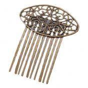 3 Pcs Retro Bronze 10 Teeth Side Comb Hair Clip Comb Flower Vine Cirrus Metal Hairpin Decorative Comb – PS-BEA3784401-DORIS00528-RP