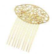 3 Pcs Golden 10 Teeth Side Comb Hair Clip Comb Flower Vine Cirrus Metal Hairpin Decorative Comb – PS-BEA3784401-DORIS00529-RP