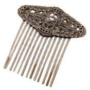 2 Pcs Olive Leaves 13 Teeth Metal Hair Side Combs Retro Bronze Wedding Veil Hair Combs DIY Hair Clip Combs – PS-BEA3784401-DORIS01295-RP