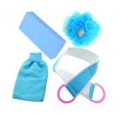 Bath Strip and Bath Flowera Set of 4 Blue Exfoliation Shower Sponge – DS-HEA11056511-AIMEE02702