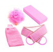 Bath Strip and Bath Flowera Set of 4 Pink Exfoliation Shower Sponge – DS-HEA11056511-AIMEE02703
