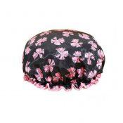 Female Double Layers Waterproof Shower Cap Dust-Proof Oil-Proof Bath Hat, Bowknot, Black – WK-HEA11056571-LYDIA00340