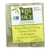 Kiss My Face Pure Olive Oil Moisturizing Soap – Pack of 3 – 4 oz – 1141837