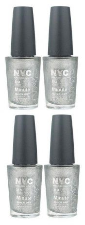 Lot of 4 – Nyc in a New York Color Minute Nail Polish #292 Tribeca Silver – hs2413oz8.4×4-074170396300