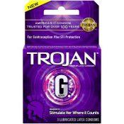 Trojan Latex Condoms G-Spot 3 Count Package – T00228