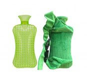 Cartoon Detachable Small Flannel Sets of Hot Water Bottle,Green – DS-HEA3763901-AIMEE00409