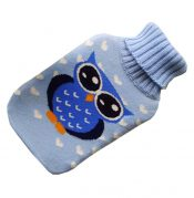Transparent Classic Rubber Hot Water Bottle 2 Liter with Knit Cover – Blue Owl – DS-HEA3763901-MINT02159