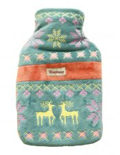 Plush Ethnic Style Deer Hot Water Bottle With Cover- Green – GJ-HEA3763901-FLORA00226