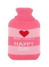 Large 2 Liter Classic Rubber Hot Water Bottle With Pink Soft Knit Cover Good Day – GM-HEA3763901-ZARA01912