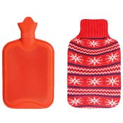 1.8 Liters Lovely Rubber Hot Water Bottle With Snowflake Pattern Knit Cover, Red – KE-HEA3763901-AMANDA01745