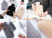 Pure Color Classic Hot Water Bottle with Plush Cover 800ML for Heat and Cold Therapy, Grey – PS-HEA3763901-KELLY00633-RP
