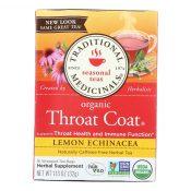 Traditional Medicinals Organic Lemon Echinacea Throat Coat Herbal Tea – 16 Tea Bags – Case of 6 – 0157354