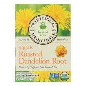 Traditional Medicinals Organic Roasted Dandelion Root Herbal Tea – 16 Tea Bags – Case of 6 – 0517441