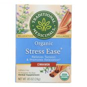 Traditional Medicinals Relaxation Tea – Stress Ease Cinnamon – Case of 6 – 16 Bags – 1703313