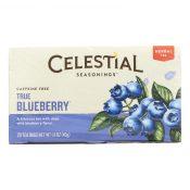 Celestial Seasonings Herbal Tea Caffeine Free True Blueberry – 20 Tea Bags – Case of 6 – 0631135