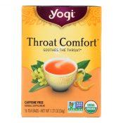 Yogi Organic Throat Comfort Herbal Tea Caffeine Free – 16 Tea Bags – Case of 6 – 0355198